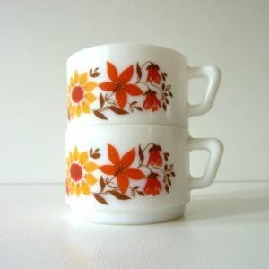 tasses à café fleurs