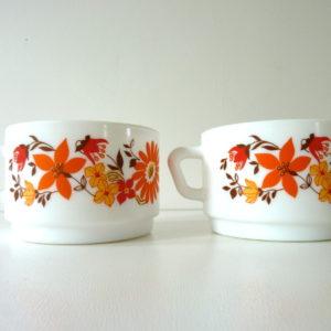 tasses à thé fleurs