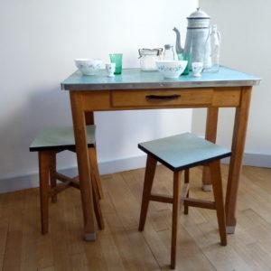 Table cuisine bois et zinc