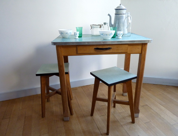 Table bois et zinc feebs little shop
