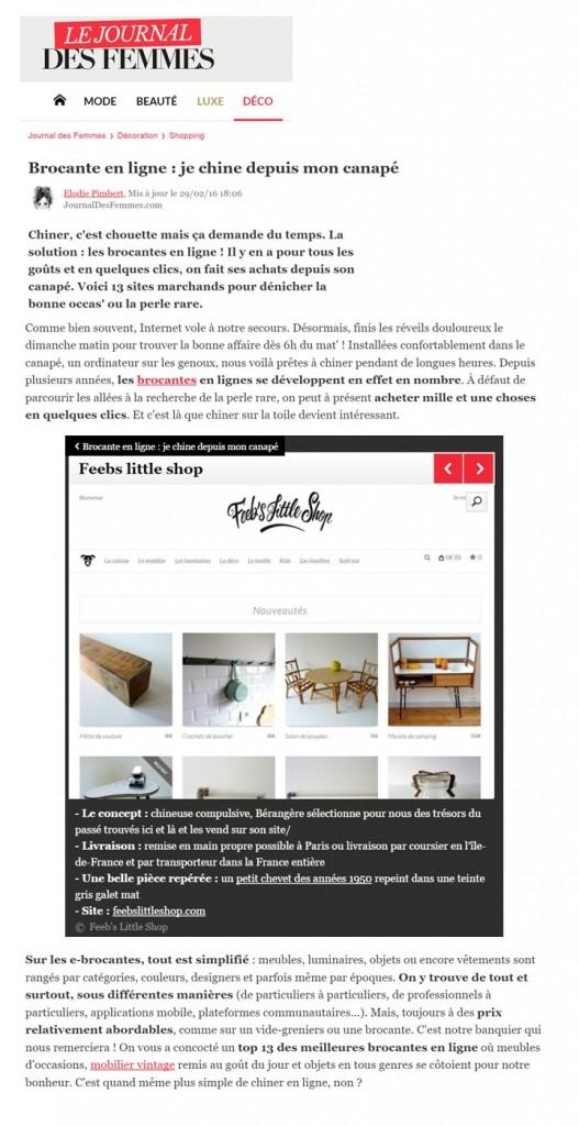 Le journal des Femmes Mars 2016 Web article Montage