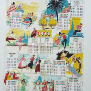 Torchon calendrier 1962