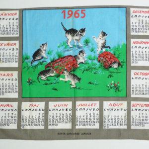 torchon calendrier 1965