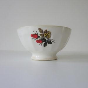 bol cotelé à fleurs