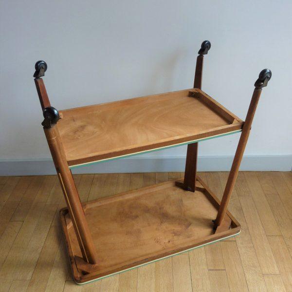 table à roulettes bois et vinyl
