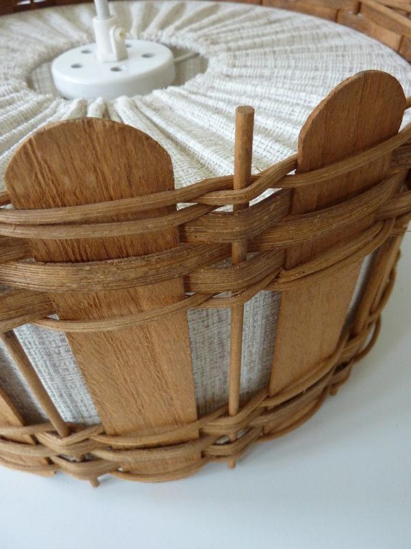 abat-jour bois et tissu vintage