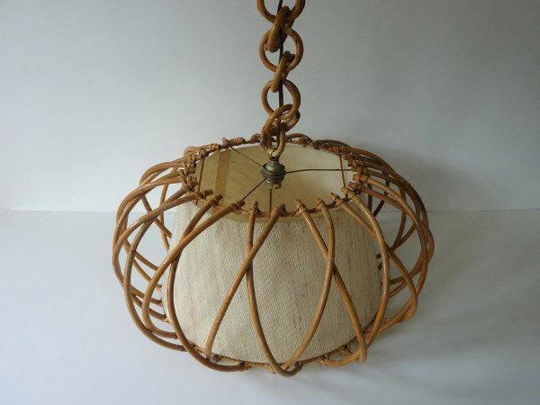 suspension cage en rotin vintage