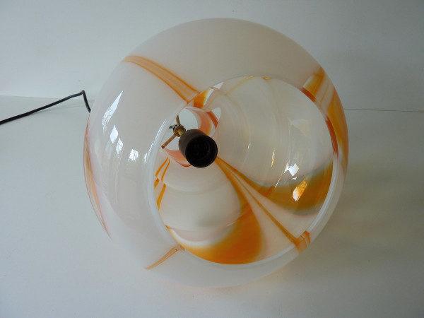 suspension verre coloré 70's orange et blanche