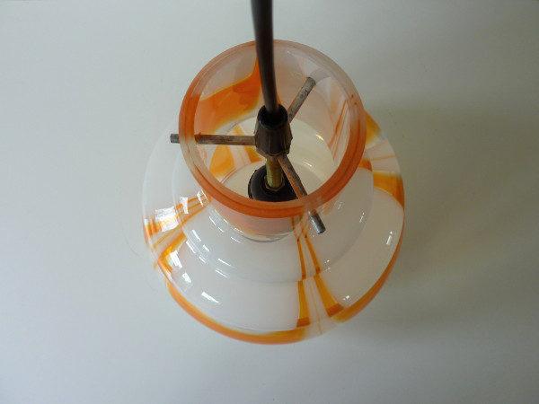 suspension verre coloré orange et blanc