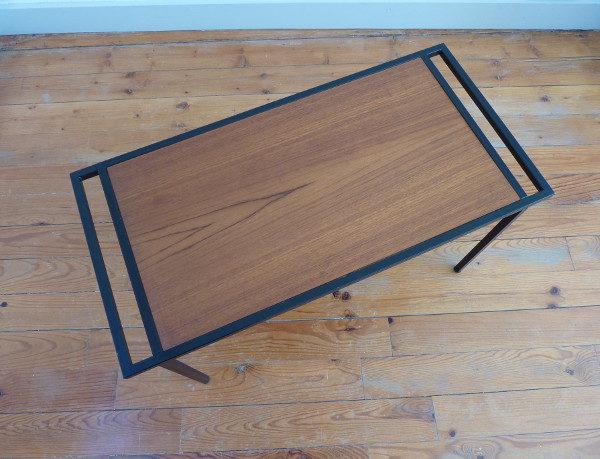 table basse épurée métal et bois