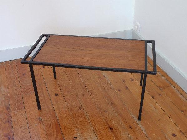 table basse vintage bois et structure métal
