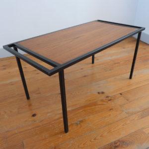 table basse vintage métal et bois