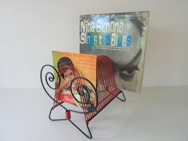 porte vinyles vintage 45 et 33 tours