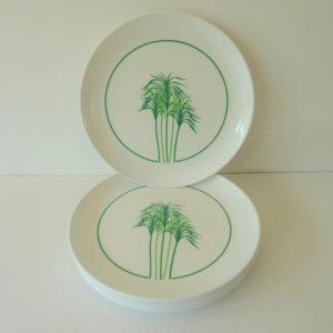 service vaisselle mélaminée vintage motif palmiers