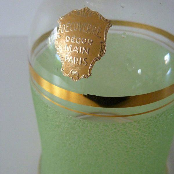 Carafe givrée verte rétro