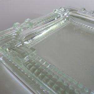 Cendrier minimaliste verre moulé pressé années 50