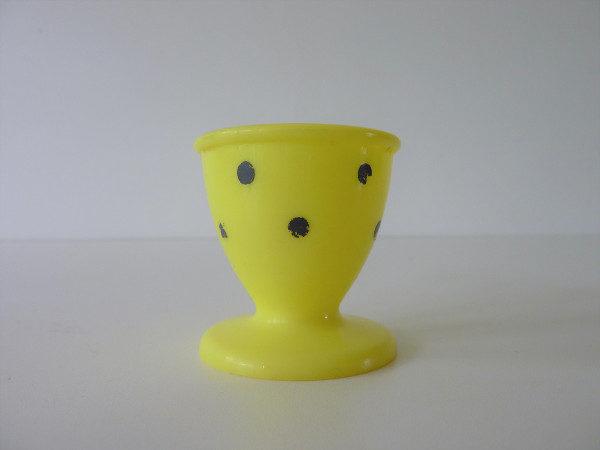 Coquetier jaune à pois vintage