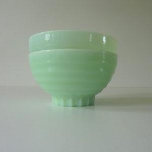 bols verre opaline vert vintage