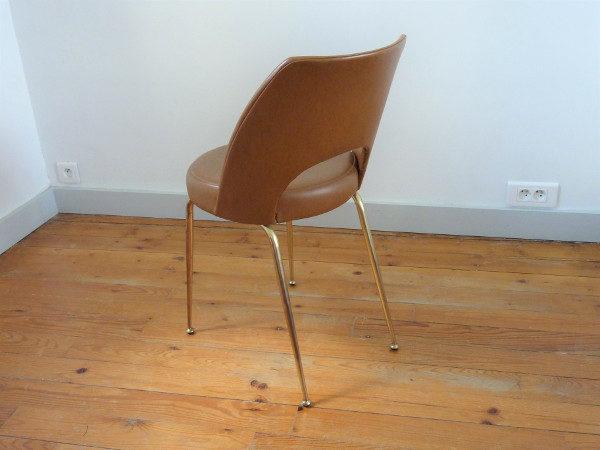 chaise tonneau cuir simili marron