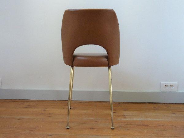 chaise tonneau cuir synthétique marron dos