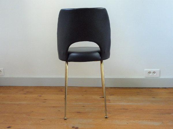 chaise tonneau cuir synthétique noir dos