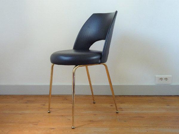 chaise tonneau cuir synthétique noir