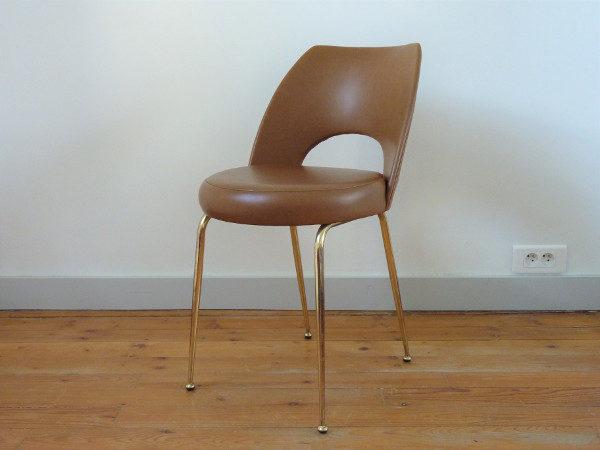 chaise tonneau skaï marron
