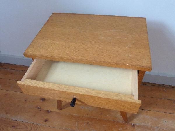 chevet 50's pieds compas bois clair tiroir