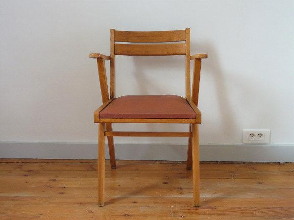 fauteuil bridge ancien skaï bordeaux années 60