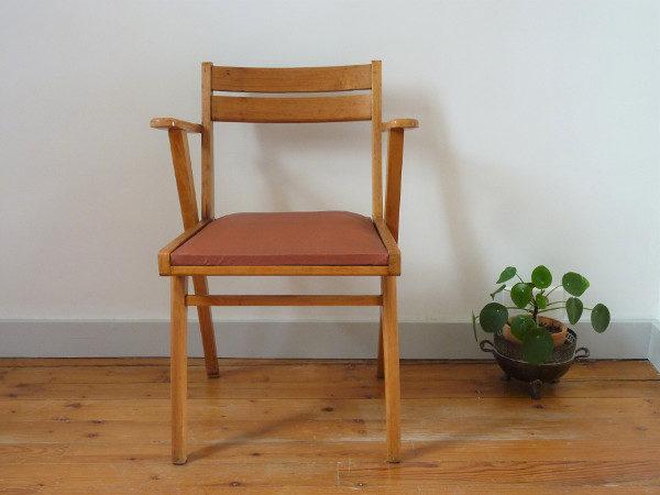 fauteuil bridge skaï bordeaux années 60