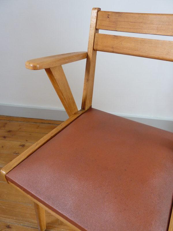 fauteuil bridge skaï bordeaux années 60 détail