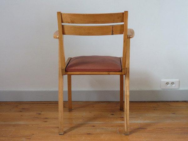 fauteuil bridge skaï bordeaux années 60 dos