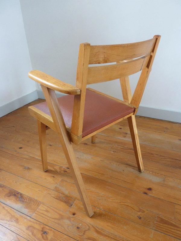 fauteuil bridge skaï bordeaux années 60 dossier