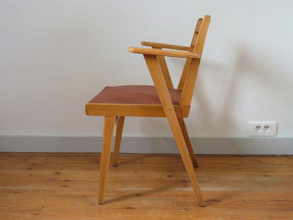 fauteuil bridge skaï bordeaux années 60 profil