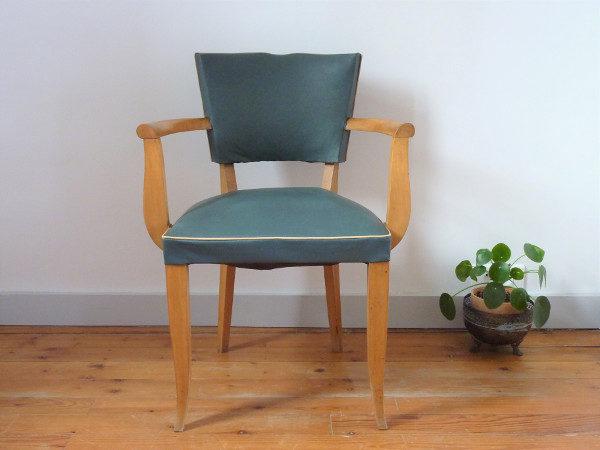 fauteuil moustache skaï vert anglais