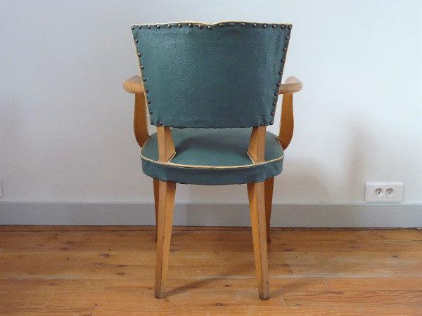 fauteuil moustache skaï vert anglais dos