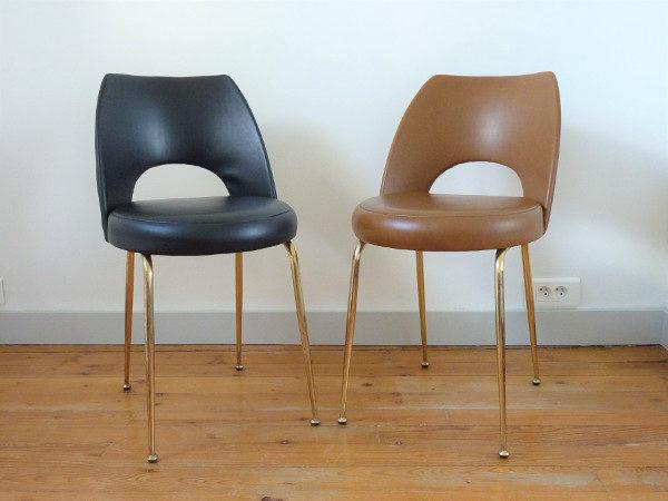paire chaises tonneau cuir synthétique