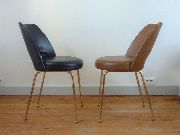 paire chaises tonneau cuir synthétique noire et marron