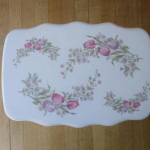tabouret rectangulaire gilac vintage à fleurs