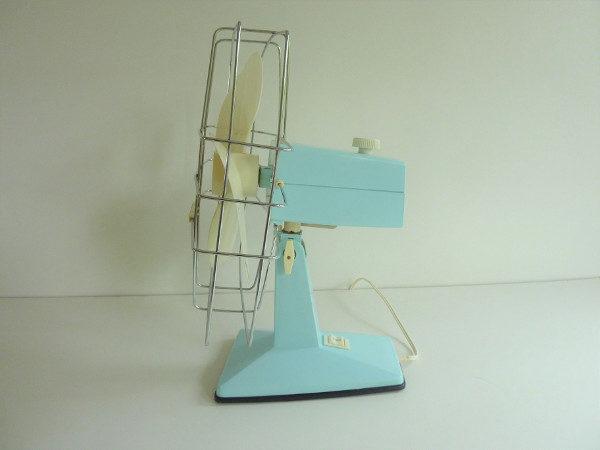 ventilateur calor vintage bleu et blanc