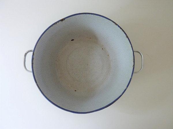Bassine émaillée ancienne bleue à anses