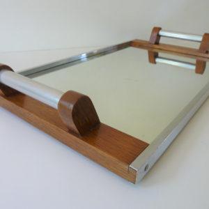 Plateau miroir art déco poignées métal et bois