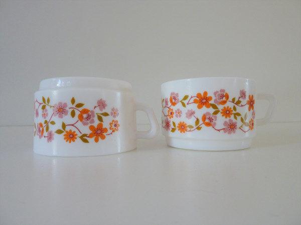 tasses à thé fleurs scania arcopal années 70