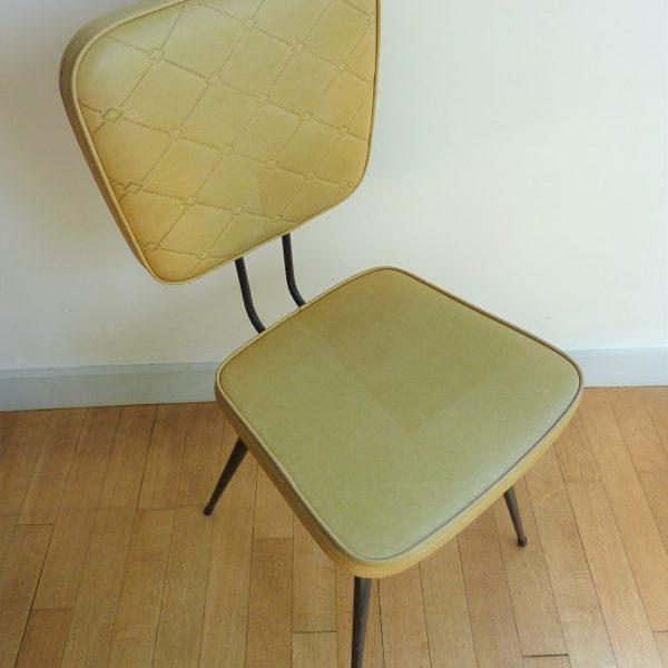 dessus chaise en skaï moutarde vintage