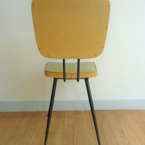 dos chaise en skaï moutarde vintage