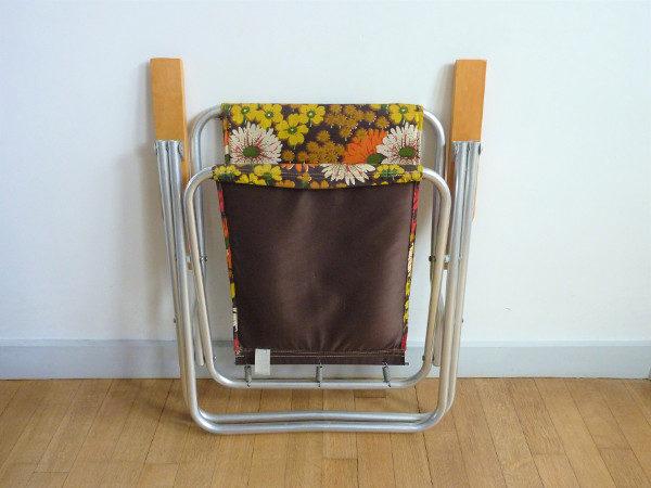 fauteuil pliant à fleurs seventies vintage