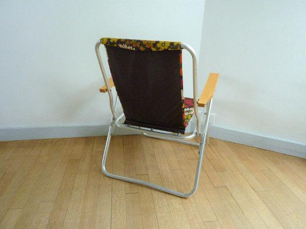 fauteuil pliant à fleurs vintage 70's
