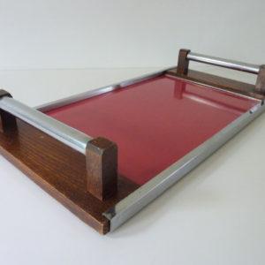 plateau bois et formica rouge rétro
