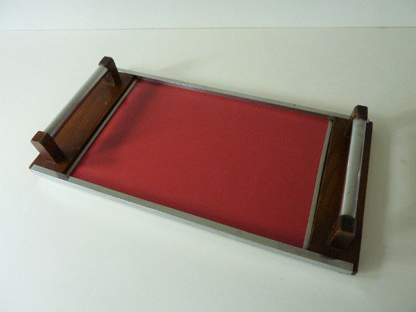 plateau bois et formica rouge vintage