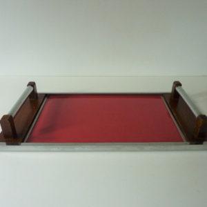 plateau bois métal et formica rouge